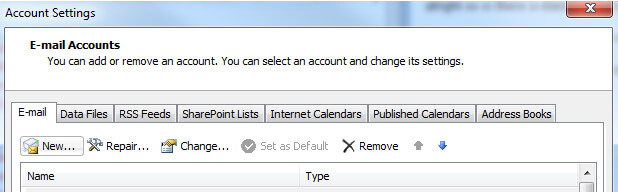 Outlook setting for cPanel